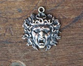 Vintage French Brass Stamping/Antique Style/Medusa/Gorgon/Mythology/Victorian/Art Nouveau/French Findings