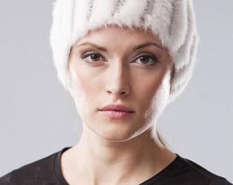Handmade white mink fur hat