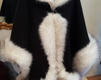 Elegant black and white half-woolen cloak with high quality faux fur - made by Irena Fashion