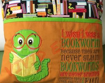 Reading Bookworm Pillow