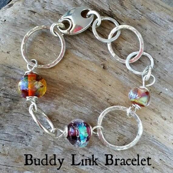 Memorial Blown Glass Single Link Buddy Bracelet in Sterling Silver