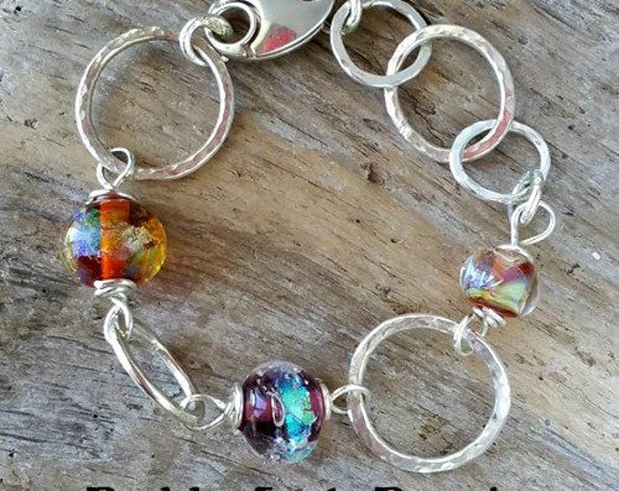 Memorial Blown Glass Single Link Buddy Bracelet in Sterling Silver