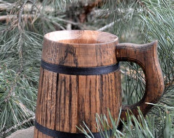 Gifts For Men, Gift For Him - Wood Mug | Wood Beer Mug | Wooden Mug | Wood Mug | Beer Mug | Wooden Tankard | Bierkrug | Chope a Biere