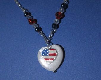 American Flag Heart Sterling Silver Charm Necklace