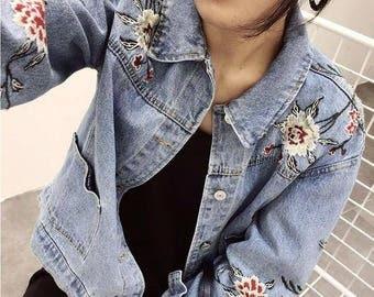 Flower Embroidered Denim Jacket