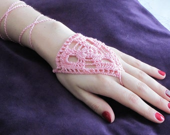 Crochet barefoot sandals for feet or hands (as shown here)