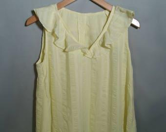 70s OOAK Handmade Yellow Sleeveless Dress Sz Large XL 12 14 OSFA Cotton Summery Frilly Neckline Midi Mid Length Tea Length Tent Dress w Belt