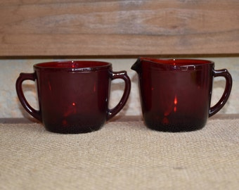 Vintage Royal Ruby Red Anchor Hocking Sugar and Creamer Set