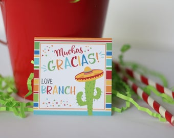 Fiesta Birthday Party Favor Tags/Stickers - Fiesta Cactus Birthday - Mexican Fiesta Thank You Tags OR Stickers, Set of 12