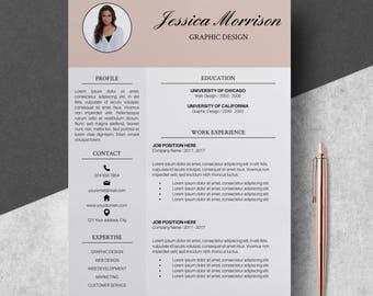 Photo Resume Template, Resume Instant Download, CV Template Word, Creative Resume, Resume Design Service, Resume Bundle, Professional Resume