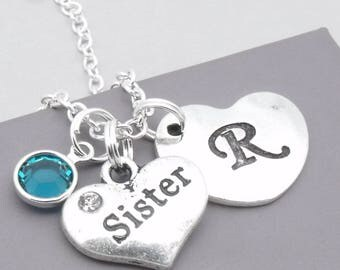 Sister heart initial necklace   sister pendant   personalised sister necklace   sister jewelry   sister gift