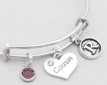 Cousin bracelet with vintage style | cousin bangle | personalised cousin bracelet | cousin jewelry | cousin gift