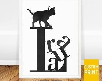 Cat Art Print, Cat Lover Gift, Cat Poster, Personalized Cat Gift for Women, Personalized Name Art, Custom Name Art, Custom Cat Wall Art