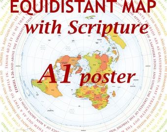 Flat Earth Map With Biblical Scripture A1 Poster(Azimuthel Equidistant)(170gsm)