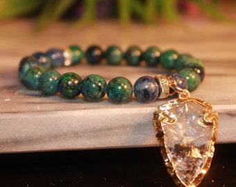 Azurite bracelet|Charm bracelet|gemstone bracelet|Boho bohemian jewelry|Raw Quartz Calming Bracelet|Blue|crystal jewelry|Beaded|Arrow Head