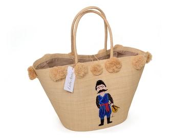 Straw Beach Bag with Pom Poms