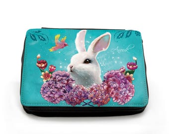 Pencil Case Rabbit Flowers with Custom Name FM052