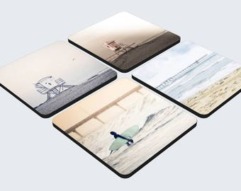 Drink and Beverage Beach Coasters - Set of 4 Coasters - San Diego California Table Coasters and Beach Decor - Beach Photography