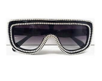 Embellished  Sunglasses | Fashionista | Fashionable Rhinestone Sunglasses  Black and Silver ( Fashion) | Womens | Mens| SunGlasses |  Red