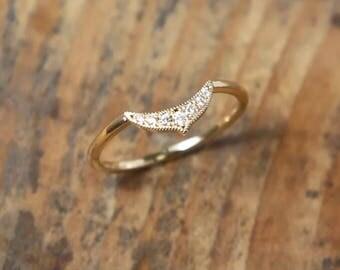 Chevron 18k Diamond Ring, Solid Gold, Thin Diamond Ring, Micro Pave, .07 ct,Dainty, Stacking Ring, Stack Ring, Midi Ring, Matching band