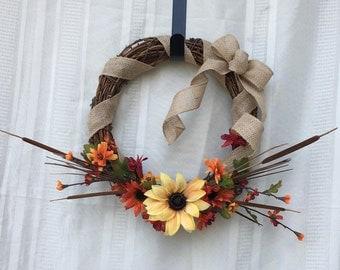 Fall Front Door Wreath, Fall Wreath, Door Wreath, Autumn Wreath, Autumn Front Door Wreath, Small Wreath, Wreath, Every day Wreath, Fall