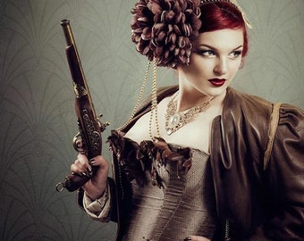 Barock steampunk cosplay headband flowers headpiece