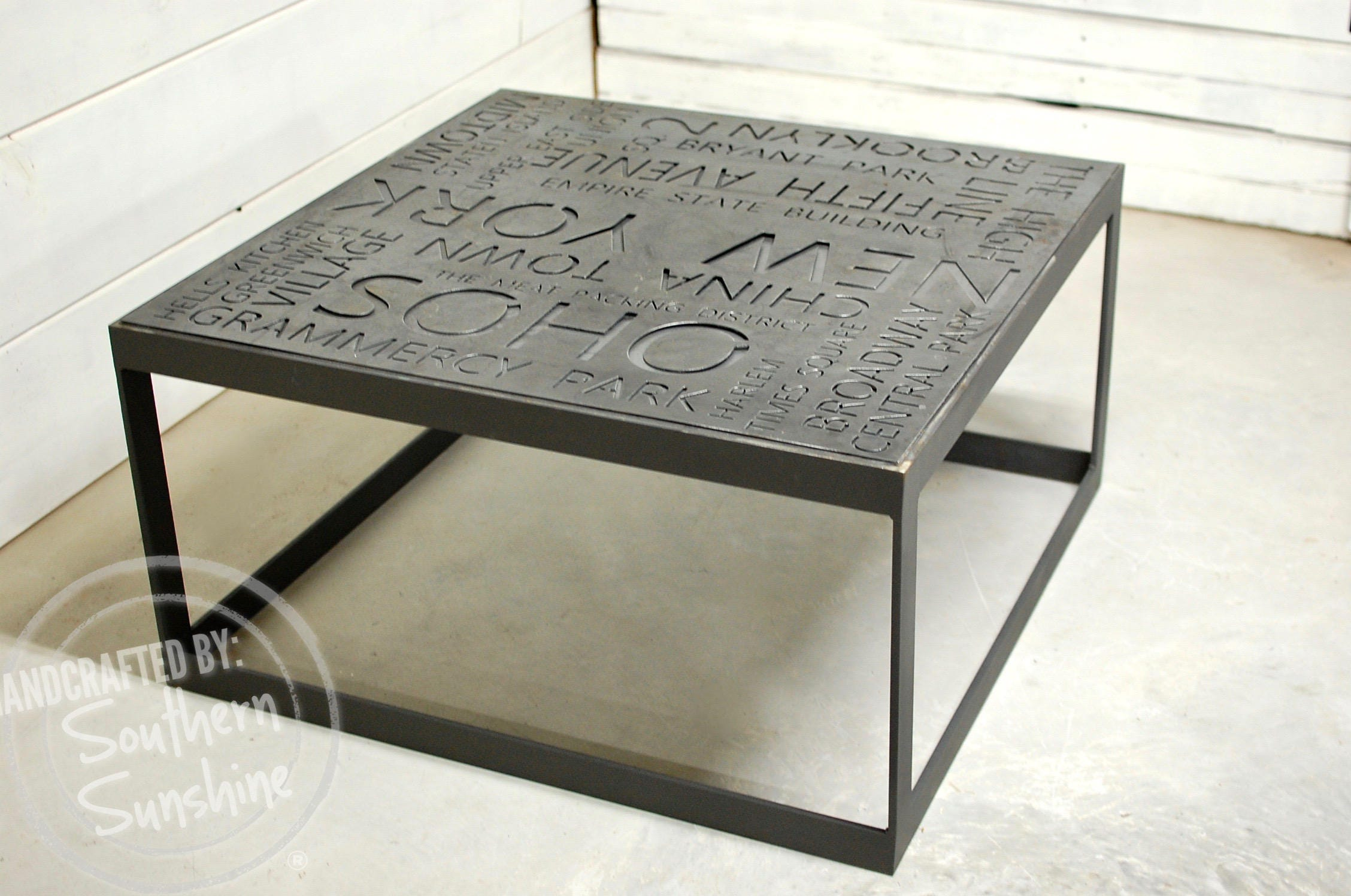 NEW YORK City Art Industrial Coffee Table Custom Metal Sign