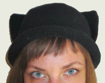 Hat With Ears - Knitting Pattern - Animal Hat - Cat Ear Hat - Girl Hat - Animal Hat - Ear Hat