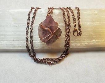 Raw Fluorite Necklace Fluorite Necklace Wire Wrapped Fluorite Necklace Fluorite Crystal Copper Necklace