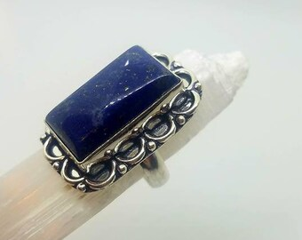 Lapis Lazuli Ring Lapis Ring Lapis Crystal Ring Statement Ring size 7