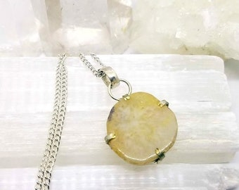 Agate Necklace Agate Crystal Agate Pendant Silver Plated Pendant Agate Crystal Necklace Yellow Agate