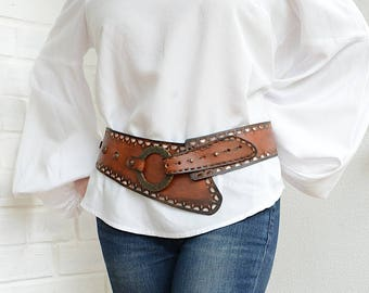 Wide leather belt Womens leather belt Wide belt Bohemian hip belt Womens belt Boho belt Rustic belt Western leather belt Plus size belt