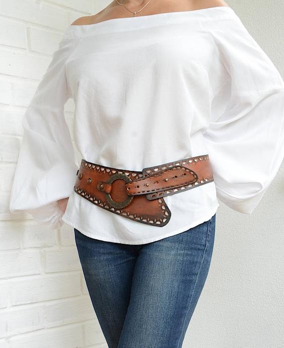 Womens Wide Leather Western Belts
