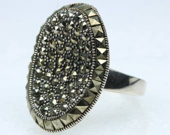 Art Deco Style Sterling Silver Marcasite Ring Size: P-7 1/2