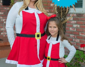 Mommy and Me Mrs. Claus Dress up Aprons