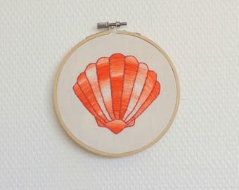 Embroidery decorative Coral Sea shell