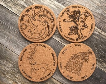Game of Thrones Coasters (GOT), Set of 4, Lannister, Targaryen, Stark, Baratheon