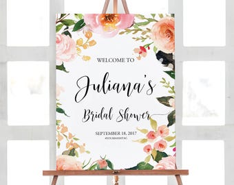 Bridal Shower Welcome Sign, Bridal Shower Poster, Bridal Shower Sign, Floral Bridal Shower Sign , Bridal Shower Welcome Poster, RUSH SERVICE