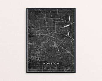 Houston Black City Map Print, Clean Contemporary poster fit for Ikea frame 24x34 inch, gift art him her, Anniversary personalized travel