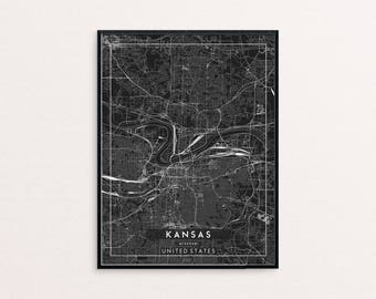 Kansas Black City Map Print, Clean Contemporary poster fit for Ikea frame 24x34 inch, gift art him her, Anniversary personalized travel