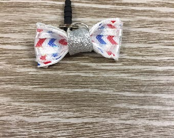 Red White Blue Gift, Cell Phone Charm, Cell Phone Plug, Cell Phone Bling, Independence Day Gift, 4th of July Accessory, Cell Phone Bow Charm