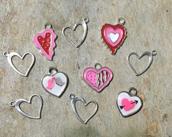 Valentine Hearts Charm Collection, Set of 10 Silver & Enamel Charms, Valentine's Day, Love Birds, Arrow, Heart, Red Theme Set Mix Lot (CC76)