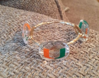 University of Miami Wired Bangle Bracelet Size 8 (Ladies Medium)