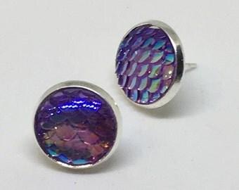 Purple Mermaid Scale Stud Earrings