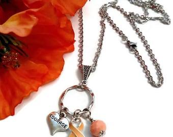 Peach Awareness Charm Necklace - Endometrial Uterine Cancer Ribbon