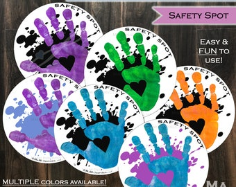Safety Spot Kids Hand Car Magnet Toddler Child Car Spot - Car Safety Kids Car Safety Parking Lot Handprint Safe Spot to Stand Reapply SPLAT