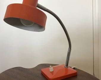 Vintage 1960's French re-wired desk lamp, mid-century office light, articulated metal, Orange enamel