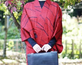 Dark red DOUCHUGI, kimono cardigan, Japanese kimono, womens haori