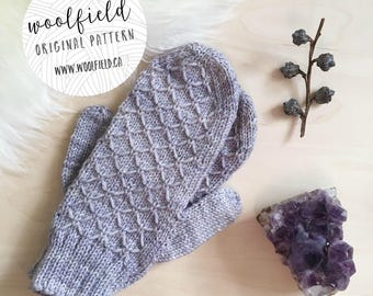 KNITTING PATTERN: Moonstone Mittens - Women's Textured Mitten Pattern