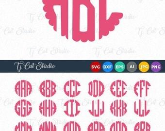 Scalloped Monogram Svg, Scalloped Monogram, Font SVG Circle Monogram, Digital Font, SVG Fonts, Svg files for Silhouette, Cricut